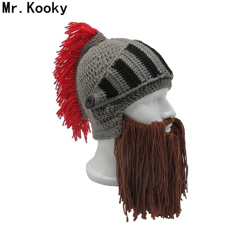 Mr.Kooky Red Tassel Cosplay Roman Knight Knit Helmet Men's Caps Original Barbarian Handmade Winter Warm Beard Hats Funny Beanies SH190921