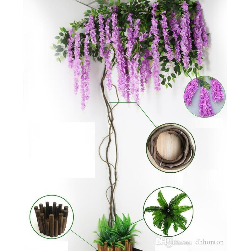 Natural timbo Artificial Withered dry real tree rattan diameter about 20mm with artificial flowers used for wedding decorations