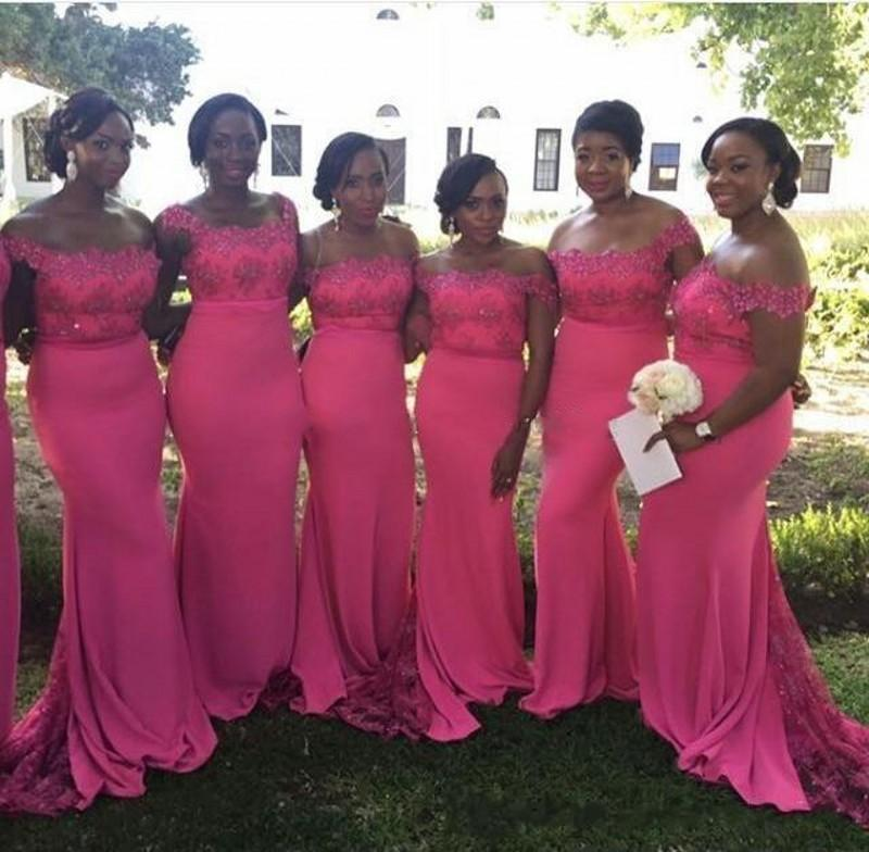Hot Pink Plus Size Bridesmaid Dresses For Wedding 2019 Off Shoulder Mermaid Maid Of Honor Gowns Sweep Train Formal Party Dresses