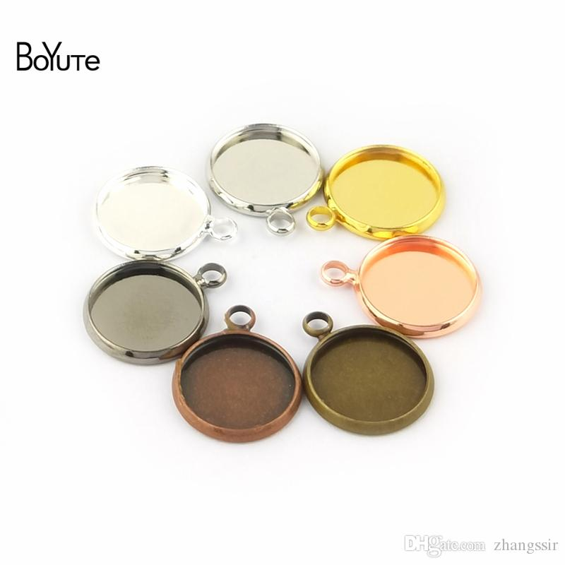 BoYuTe Wholesale (50 Pieces/Lot) Fit 20MM Cameo Cabochon Base Settings Diy Pendant Blank Bezel Tray Jewelry Accessories