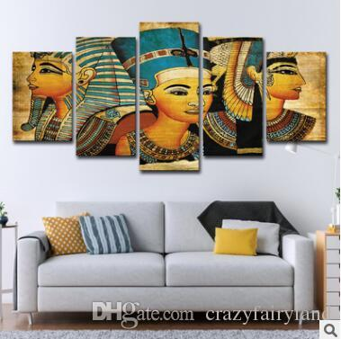 Wall Art Canvas Pictures 5 Panels Retro Egyptian Pharaoh No Frame Oil Painting Canvas Art Wall Picture For Bed Room Unframed
