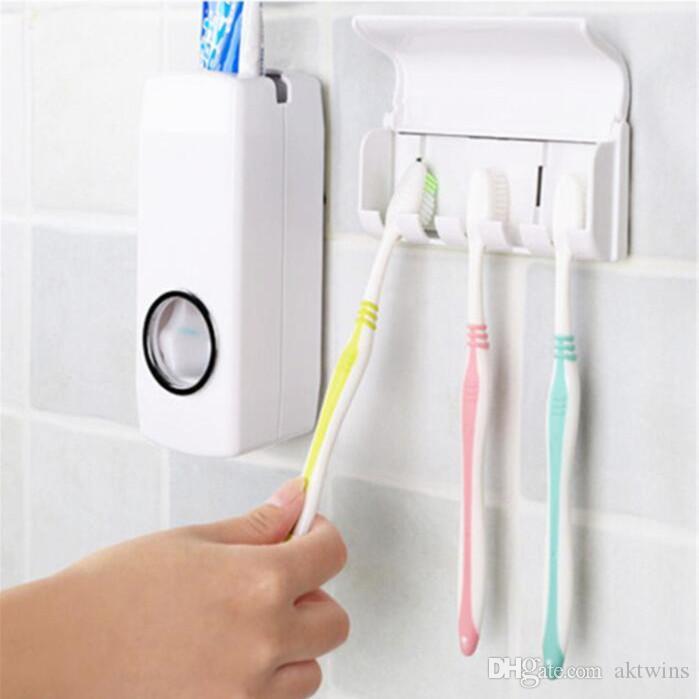 디스펜서 치약 Teethbrush 홀더 실용 2 조각 세트 게으른 사람 자동 치약 디스펜서 칫솔 욕실 제품 WY486Q