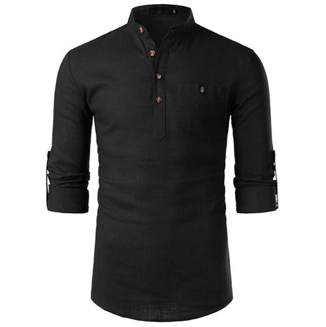 Mens Designer manches longues Chemises hommes cou Lapel solides Chemises Casual avec poches Mode Homme Vêtements