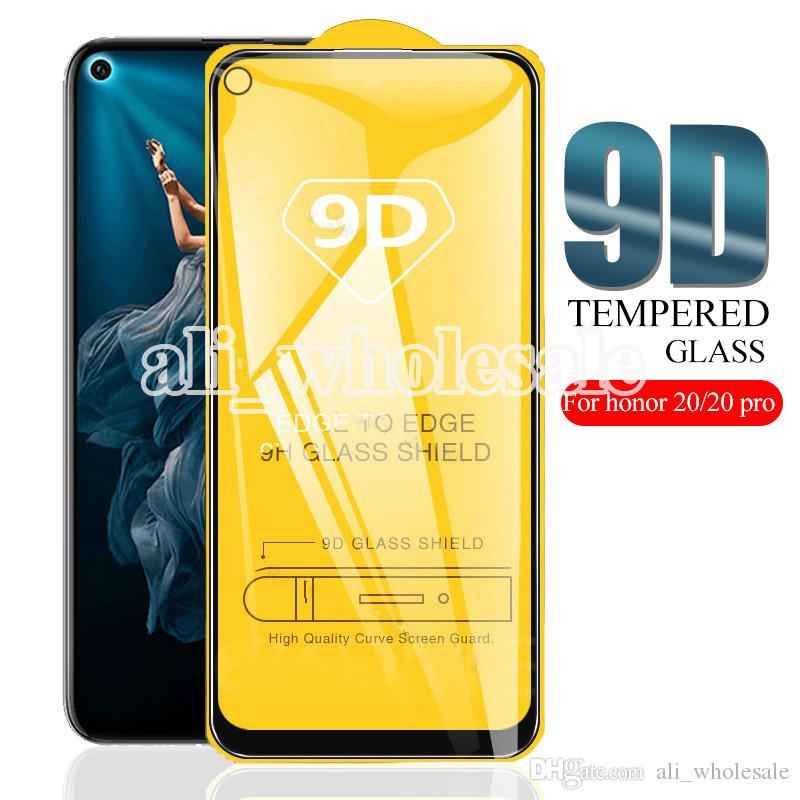 9D Полное покрытие Закаленное стекло экрана протектор для Huawei Honor 20 Pro Почетная 10 Lite 10i View 20 8X 9X 8C 8А Honor 9 9i, NO розничной упаковке