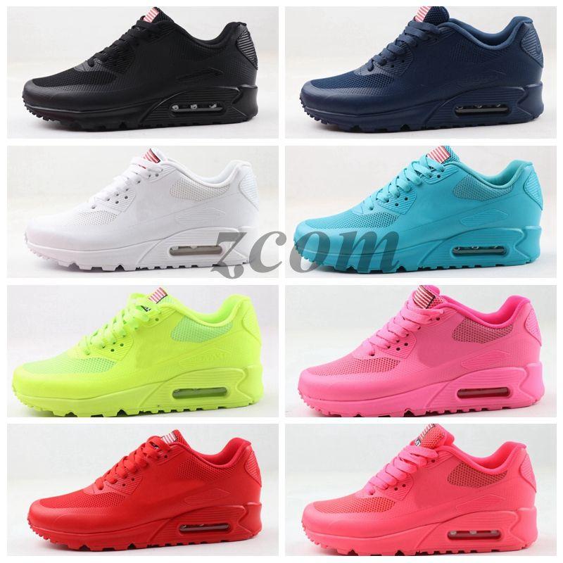 2020 PRM 90 QS HYP Chaussures de course Vente en ligne Jour de l'Indépendance Mode Zapatillas USA Drapeau Sport Sneakers 90 des chaussures