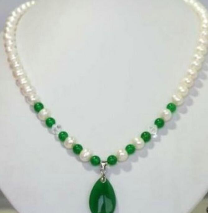 necklace New Jewelry White Freshwater Pearl & green jade Pendant Necklace