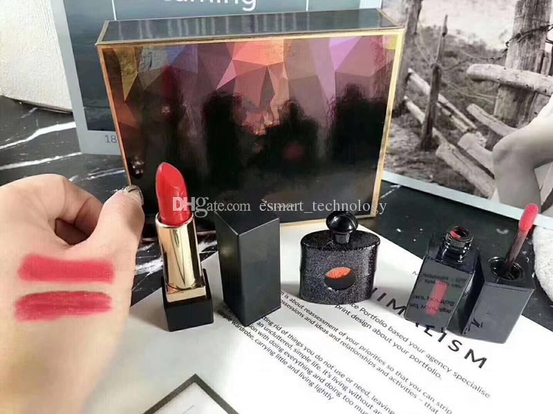 Famouse Brand Makeup Matte rouge a levre Lipstick +Perfume + Lip Gloss 3pcs In 1 Maquillage Set