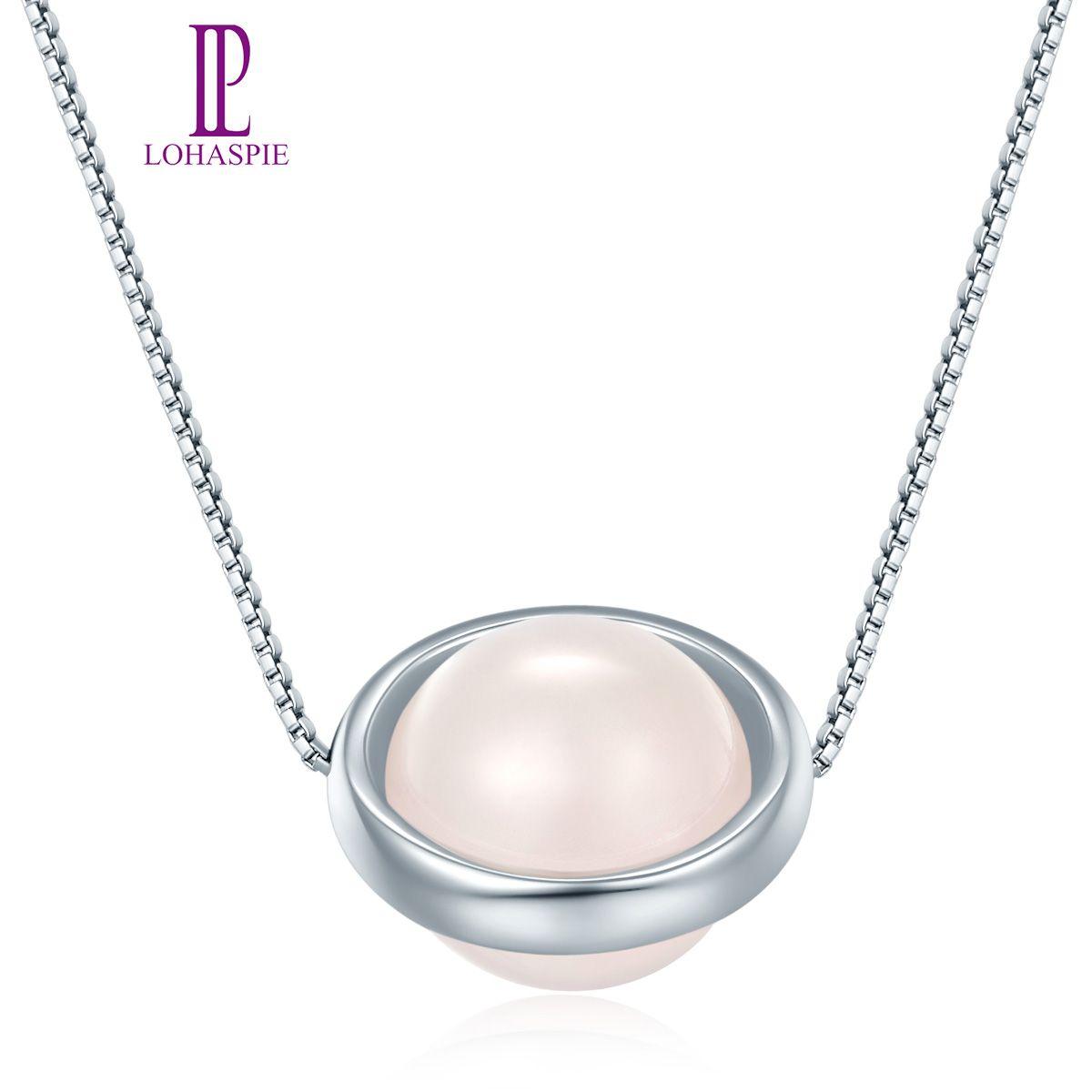 Regalo de la joyería de la piedra preciosa natural verdadero fino Moda 10mm cuarzo rosa Ronda 925 colgante de plata esterlina collar para las mujeres de muchacha al por mayor