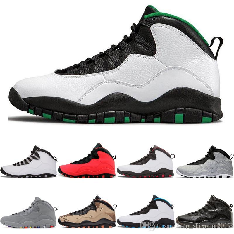 10s nuevos zapatos llegada Seattle baloncesto de los hombres de acero gris GS 10 Fusión cemento de color rojo Chicago Cool Gray Diseñador entrenadores deportivos zapatillas de deporte
