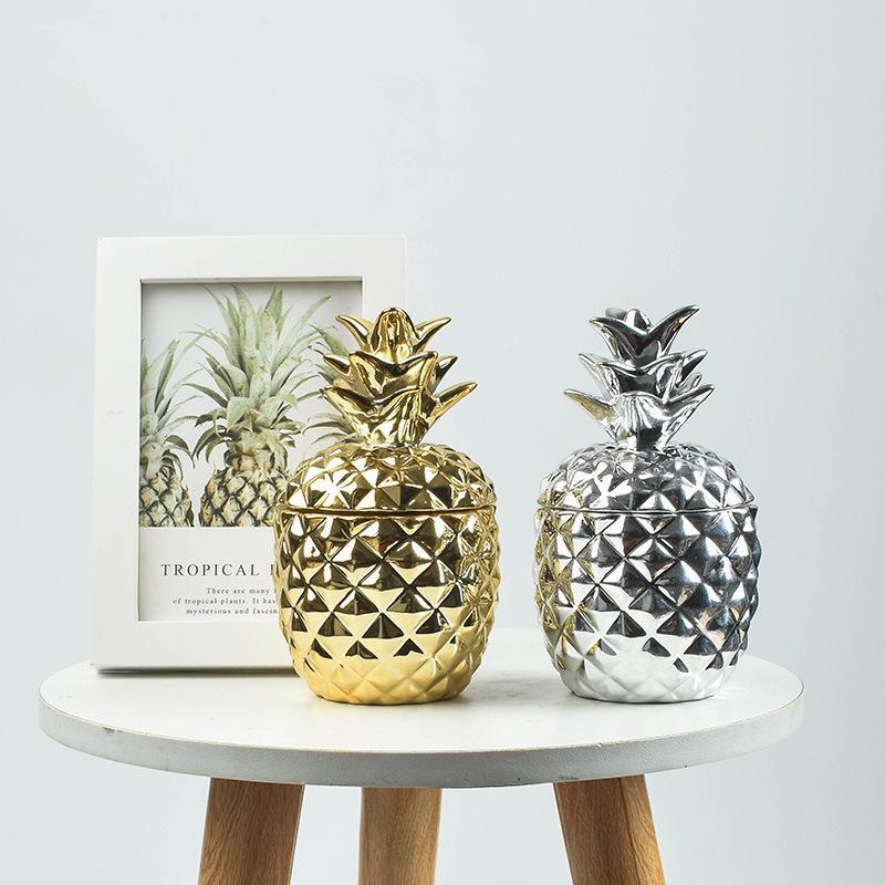Abacaxi Figurines fruta artesanato enfeites para escritórios em casa Ceramic Aromaterapia abacaxi Tanque de Vela Recipiente de armazenamento