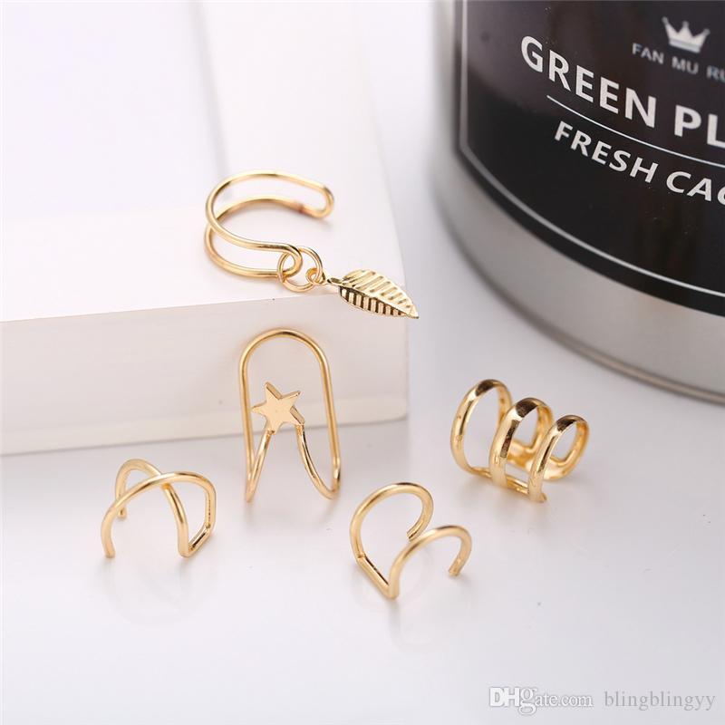 الأذن الكفة 5 قطعة مجموعة لا ثقب Earcuff مزدوجة الكفة الأذن ومتقاطع الغضروف بسيط الغضروف حلق مجوهرات اكسسوارات DHL