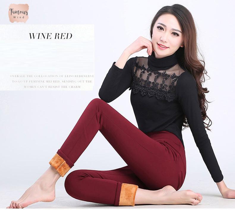Slim Autunno Pantaloni inverno più spessi caldo velluto elastico pantaloni a vita alta grandi iarde delle nuove donne casuali di alta Mutandine