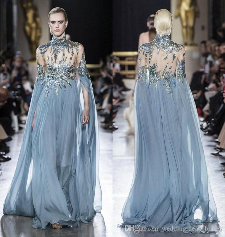 2019 Elie Saab Prom Dresses High Neck Illusion Bodice Sequins Lace Applique Dusty Blue Chiffon Flowy Occasion Evening Wear Gowns
