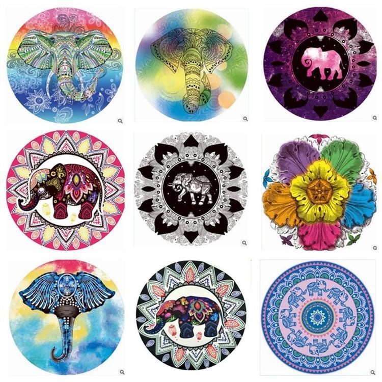 Vente chaude 17 styles circulaires de style européen de plage serviette éléphant de serviette imprimée mode de la mode confortable châle t3i0308