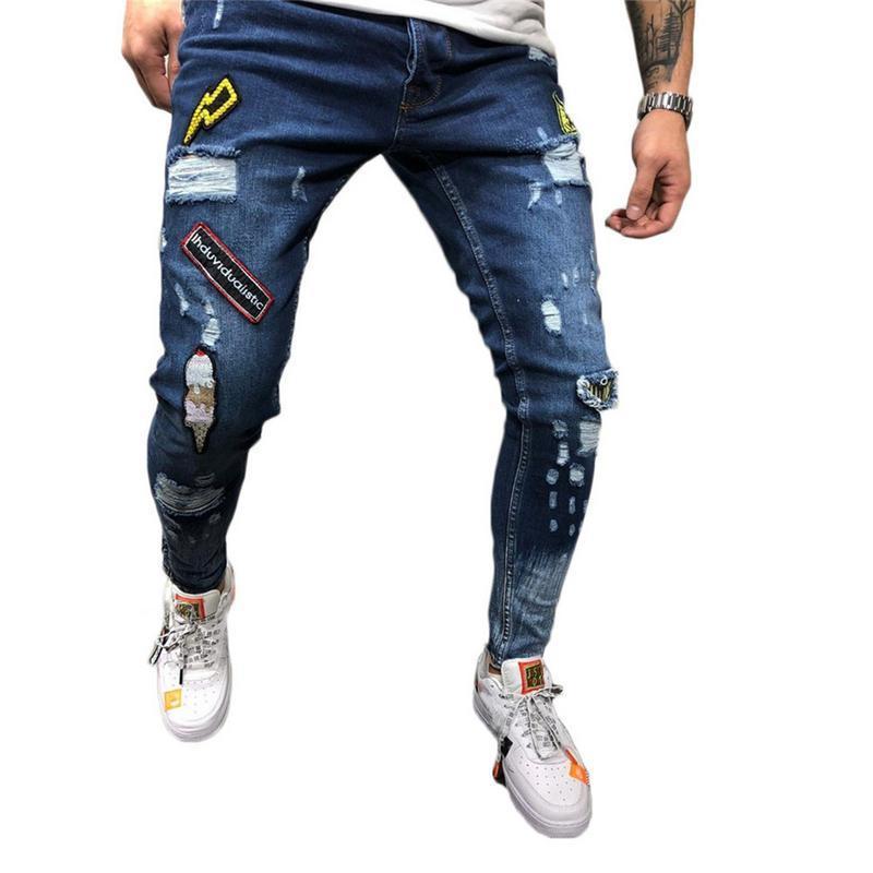 Мужчины Стильные рваные джинсы Брюки Байкер тощий Тонкий прямой Изношенные Denim брюки Новая мода Узкие джинсы мужские Одежда