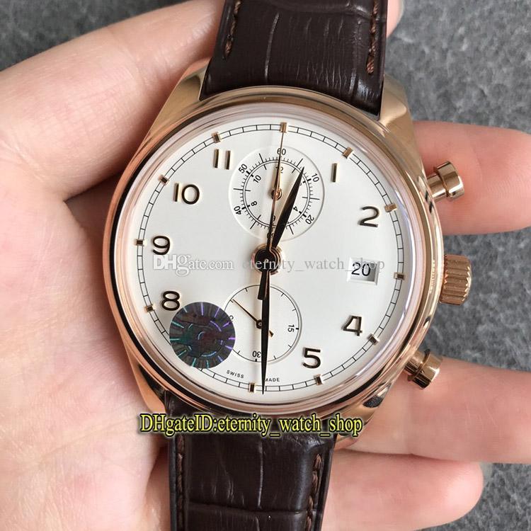 Nouveau Top ZF Portugieser Chronographe classique 390301 Cal.89361 Chronographe Automatique Cadran Blanc Mens Watch 18K or rose Montres Chronomètre