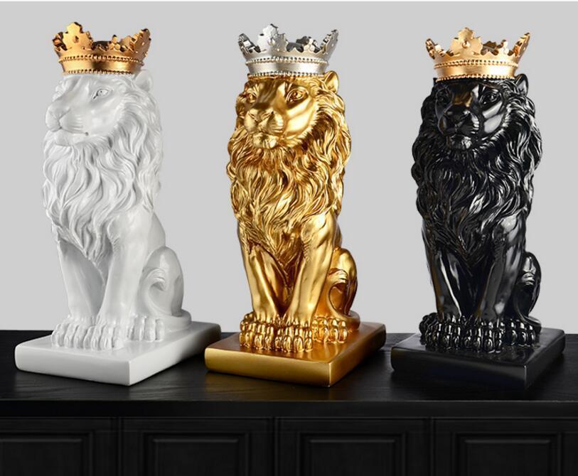 Corona de oro León estatua artesanía decoraciones decoraciones de Navidad para el hogar escultura decoración del hogar accesorios T200330