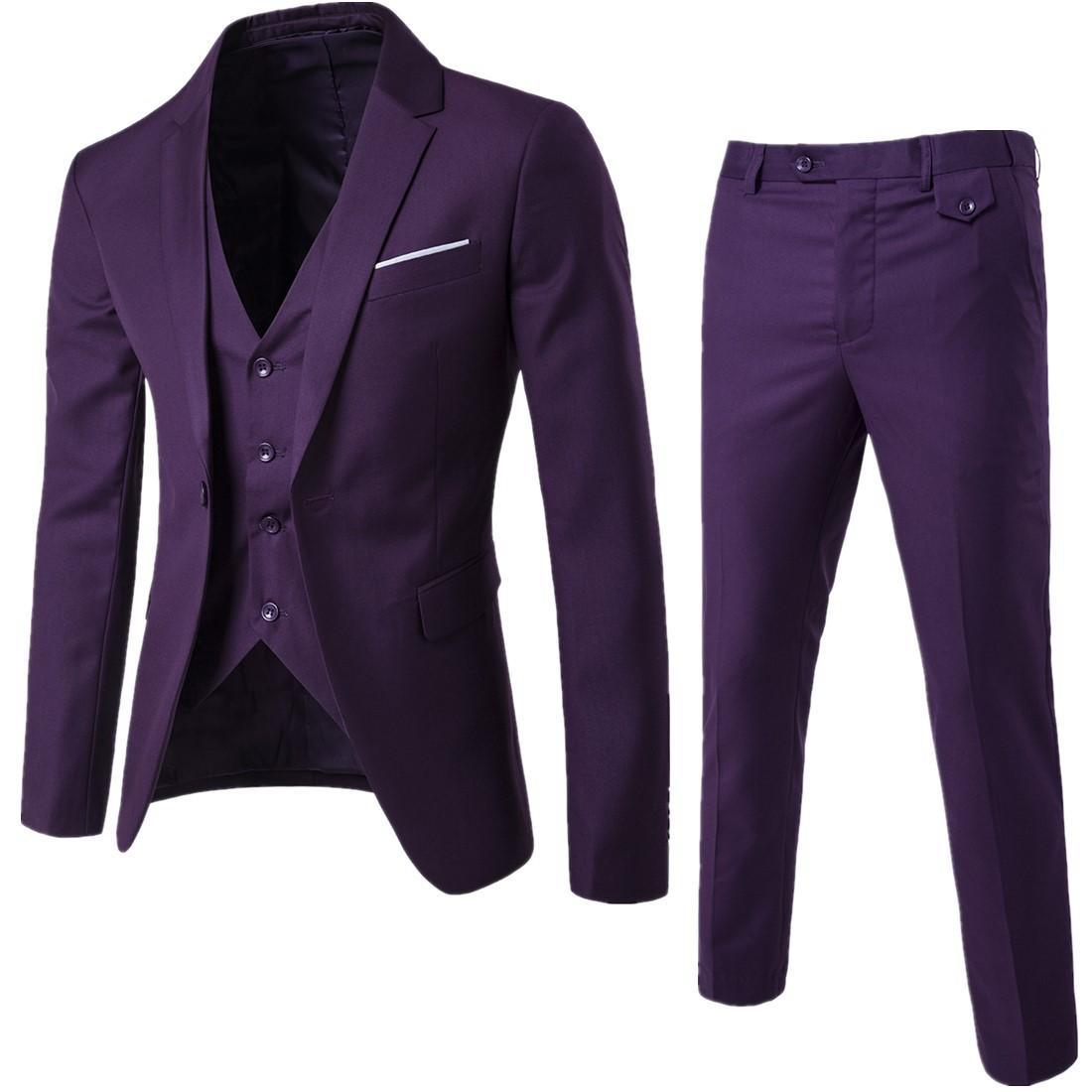 Deep Purple Male Drei Stücke Herren Anzüge Slim Fit Einreiher Männer Hochzeit Anzüge nach Maß Wedding Smoking-Klage-Sätze (Vest + Pants + Blazer)