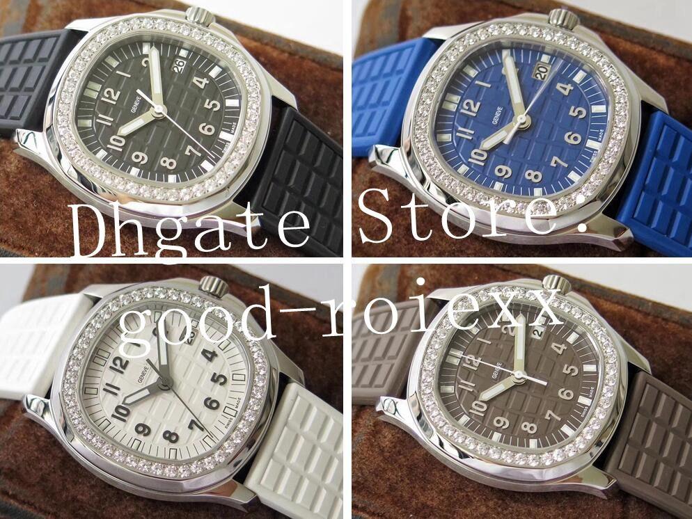 4 cor 35.6mm relógios de diamante Quartzo Cal.E 23-250 PPF fábrica relógio senhoras 5067 borracha tropical Ronda Ladys relógios de pulso