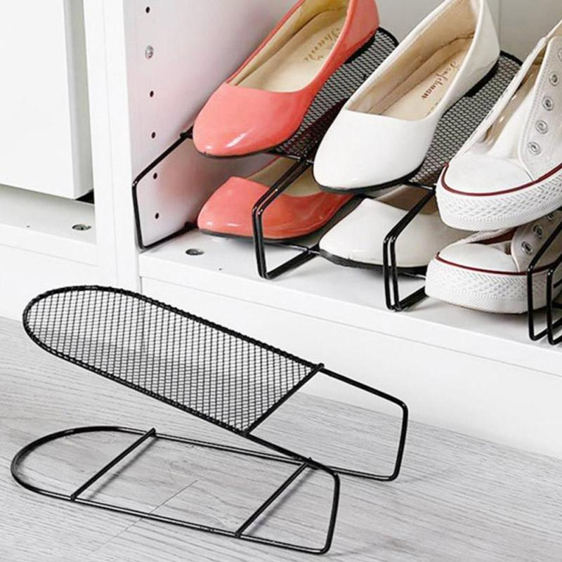 Iron Double Shoe Rack Cabinet Stretcher Wardrobe Shoe Storage Organizer Shelves Stand For Footwear Home Storage Supplies