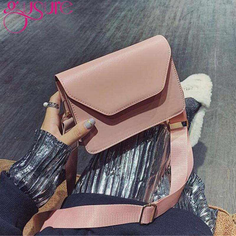 Gusure Casual Design Women Handbags Solid PU Leather Ladies Flap Crossbody Bags Totes Wide Strap Shoulder