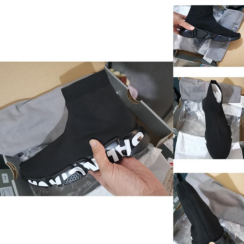 chaussettes de la femme avec la boîte et le sac à poussière chaussettes chaussures femmes nouveau style tricot couple de bottes plates de tendance élastiques bas chaussures de sport
