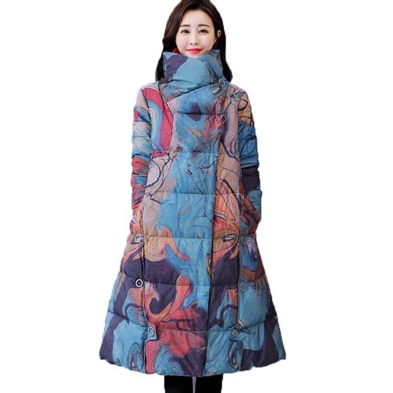 Más el tamaño 2019 Chaqueta de invierno Mujeres Vintage Parka Imprimir estilo nacional chino femenino elegante largo algodón acolchado ropa QH122