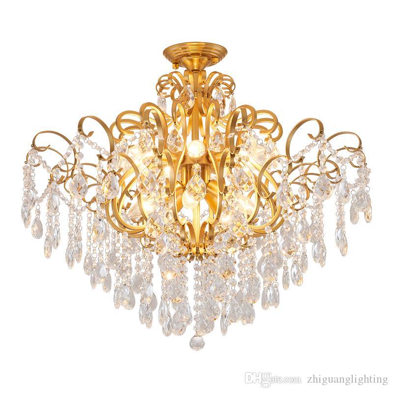 American living room chandelier villa restaurant master bedroom crystal ceiling lamp aisle staircase crystal ceiling lamp