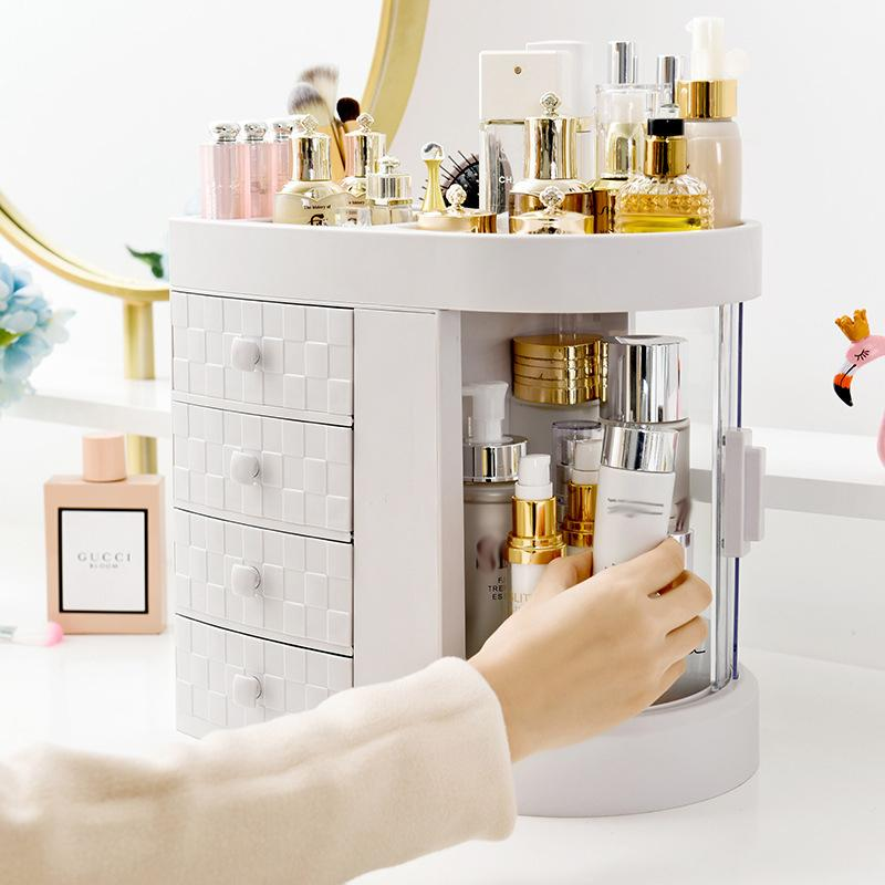 Nouveau maquillage Tableau 4 tiroirs Dressing Porte Boîte de rangement transparent Lipstick fenêtre Rotation organisateur pour brosse cosmétiques bijoux