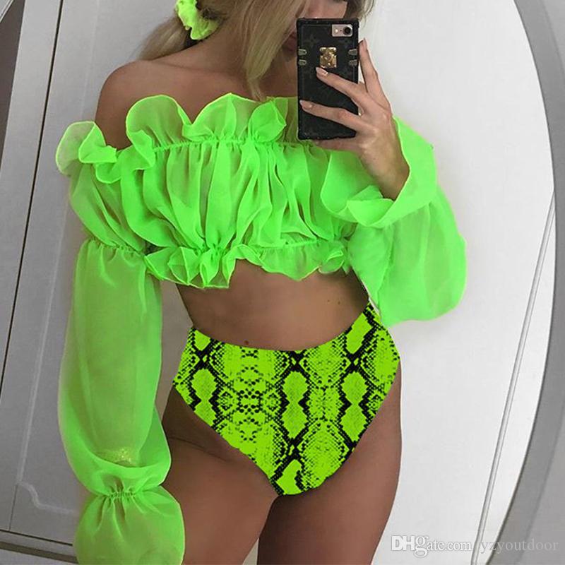 Sexy Neon Verde Bikini Set Maglia A Manica Lunga Costume Da Bagno Femminile A Vita Alta Bikini 2020 Snake Stampa Costumi Da Bagno Costume Da Bagno Delle Donne