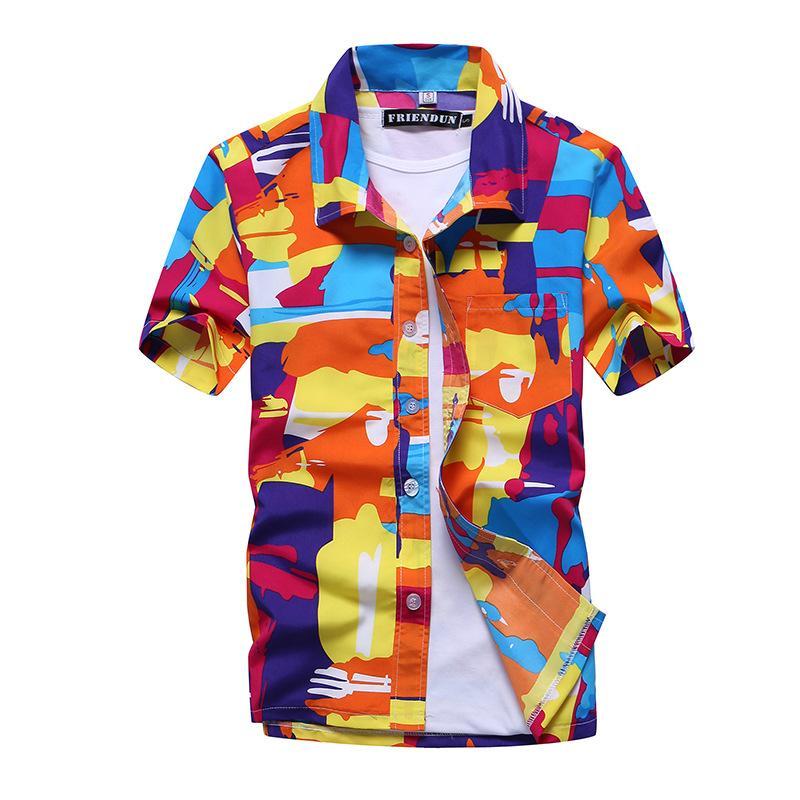 Лето Мужские рубашки Пляж с коротким рукавом гавайская Печатные рубашки Fast Dry Turn Down Воротник свободная блуза для отдыха негабаритного