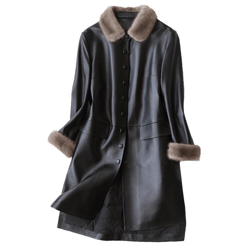 Yeni Gerçek Hakiki Deri Ceket Koyun Derisi Ceket Sonbahar Kış Ceket Kadın Giyim Avrupa Manteau Femme Hiver Artı Boyutu Z933