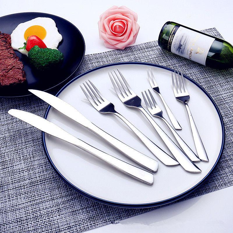 La mejor vajilla del hotel Cubiertos Juego de cena de acero inoxidable espesado Cuchillo occidental Tenedor Cuchara de cena Vajilla Cubiertos Cubiertos