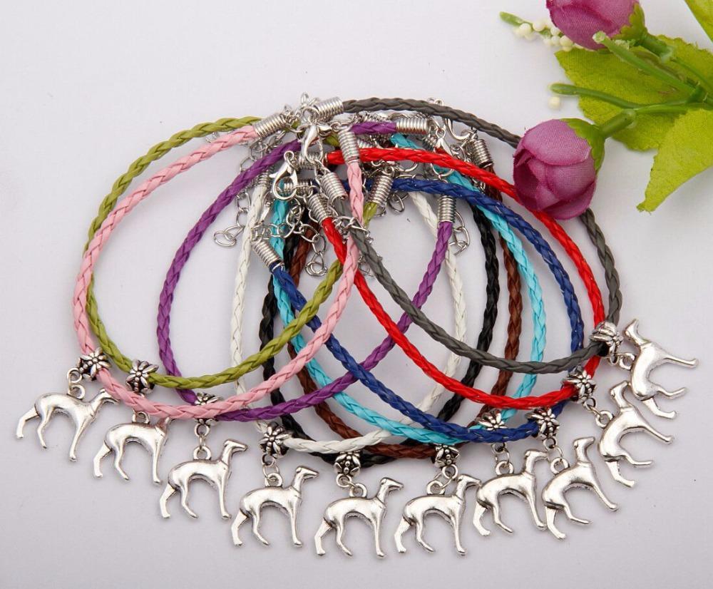 Antique Silver Dog Greyhound Pulseira Amantes Dos Animais 20 + 5 cm Multi Cordão De Couro Tecelagem Tamanho Ajustável Bangle Mulheres Homens Presente 50 ps