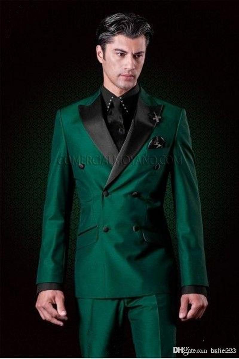 Yeni Klasik Tasarım Kruvaze Yeşil Damat Smokin Groomsmen Peak Yaka Best Man Suit Düğün erkek Blazer Suits (Ceket + Pantolon + Kravat)