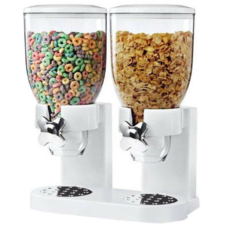 5L dispensador doble de Cereales Almacenamiento de comida seca contenedor mquina