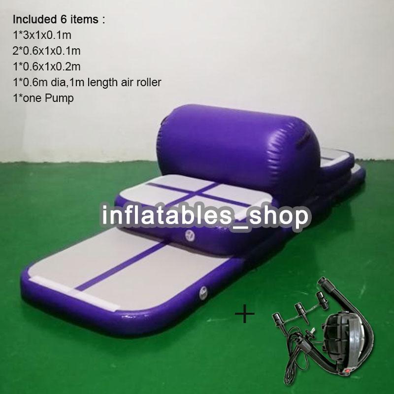 Ücretsiz Kargo Home Edition Bir Dizi Şişme Spor Mat, 10 cm DWF Şişme Jimnastik Hava Takla Parça Mat Eğitim Seti