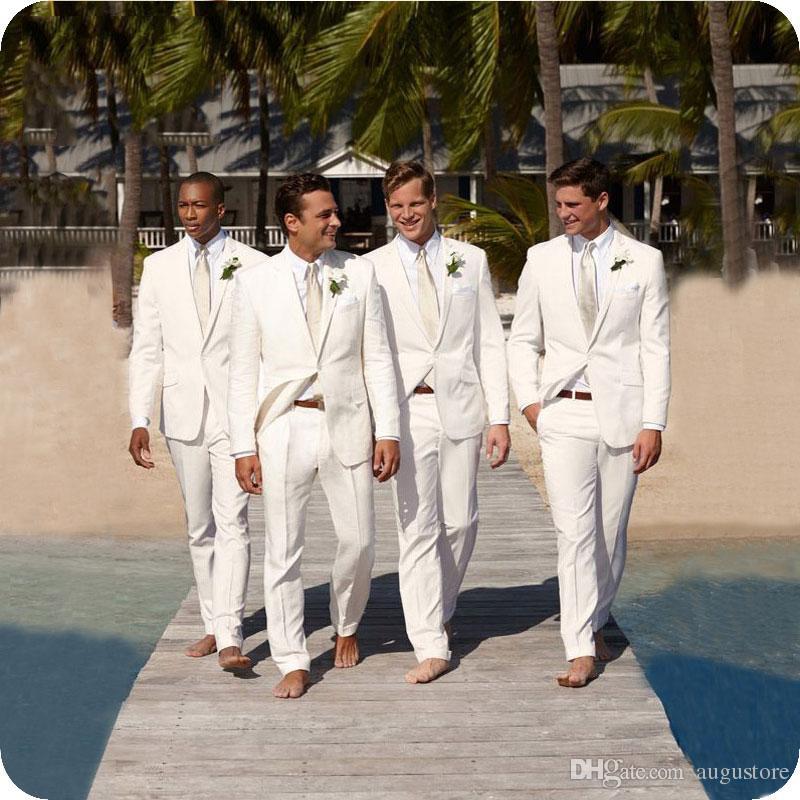 Strand White Linen Männer Klagen für Hochzeits-Klage-Bräutigam-Ausstattungs-Bräutigam-Abschlussball nach Maß Slim Fit beiläufige Smokings Mann Blazer Jacket + Pants tragen