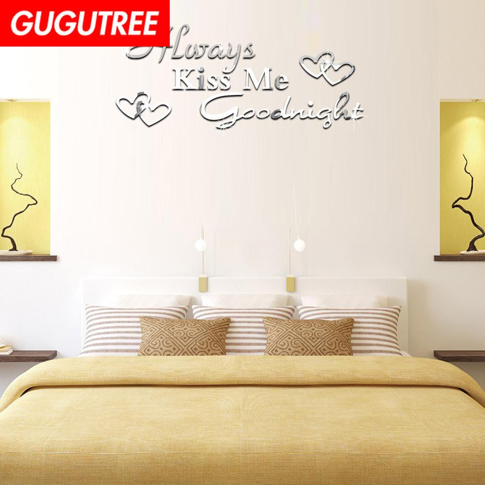 Decorate Home 3D Kiss me Goodnight letter mirror art wall sticker decoration Decals mural painting Removable Decor Wallpaper G-224