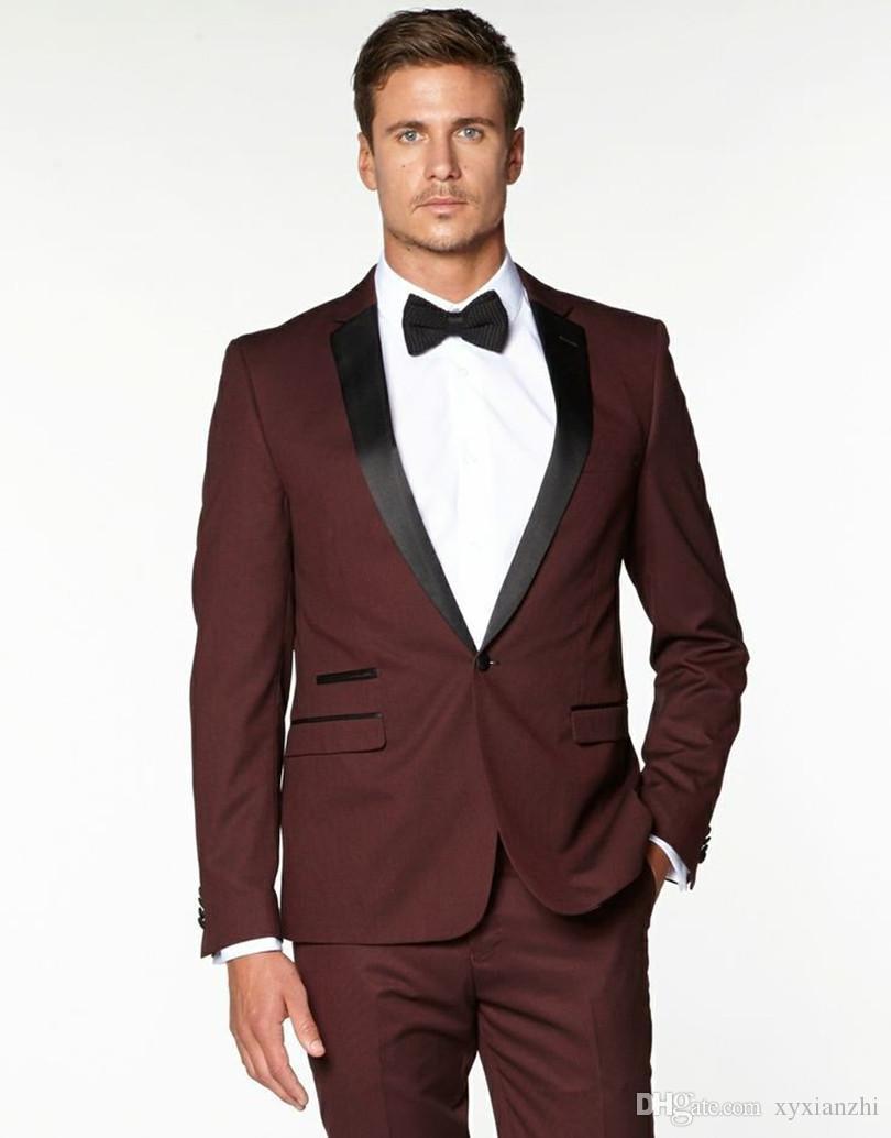 Düğün Takım Elbise Bordo Smokin Klasik Takım 2021 Custom Made Erkekler Örgün Giyim 2 Parça