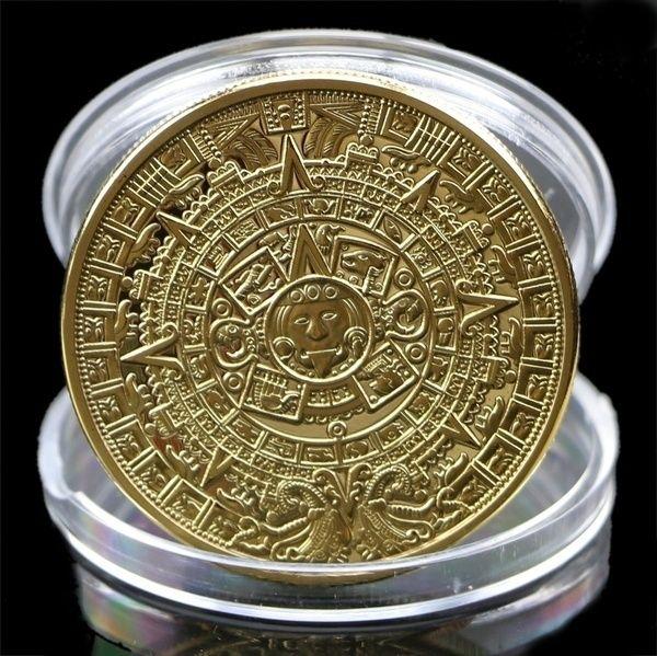 Collezione di monete d'argento placcato Maya Aztec Calendar Souvenir Commemorative