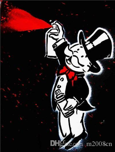 Handpainted & HD Print Alec Monopoly Banksy Abstract Graffiti Art Oil Painting Spray Can Man On Canvas High Quality Wall Art Home Decor g252
