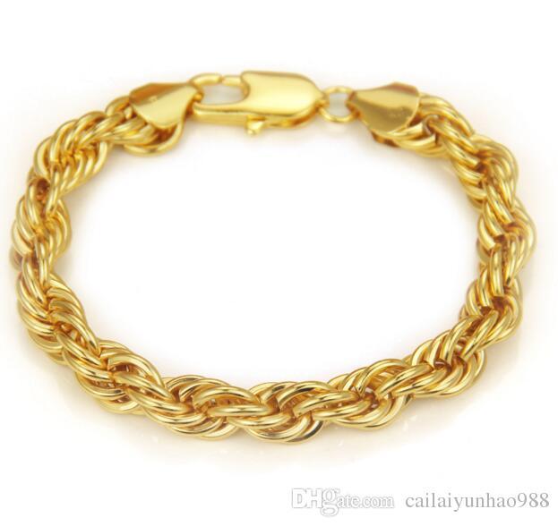 Moda torcido cadeia cadeia 18k ouro banhado a ouro hip hop torção pulseira