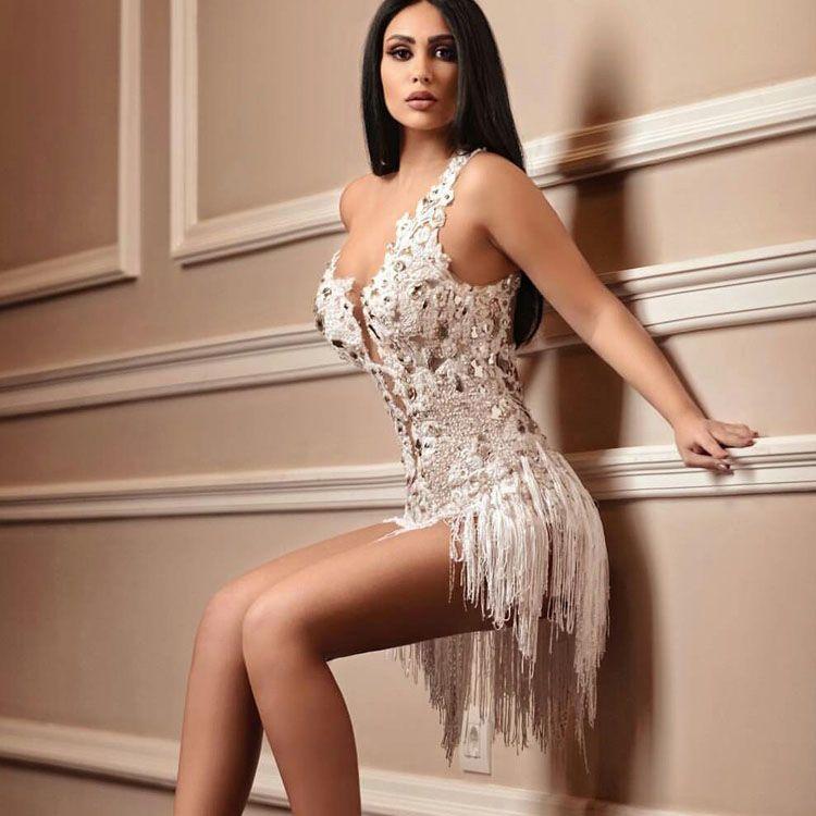Сексуальные мини выпускные платья Sheer V-образным вырезом бусины без спинки вечерние платья Кружева с кисточкой Формальное платье OgStuff