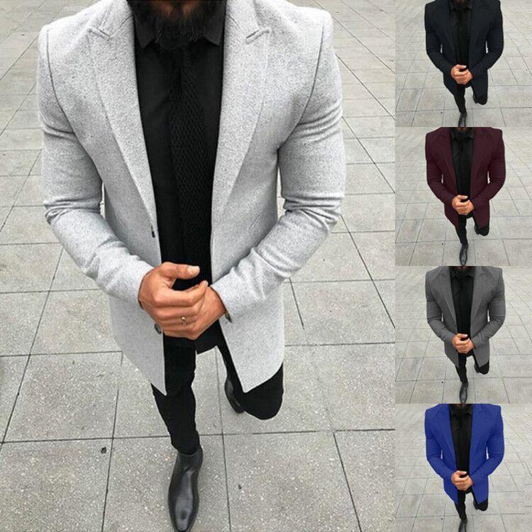 Sobretudo 2019 cor sólida manga comprida homem de Business Affairs Gentleman correta Brasão vestido solto Windbreaker Masculino