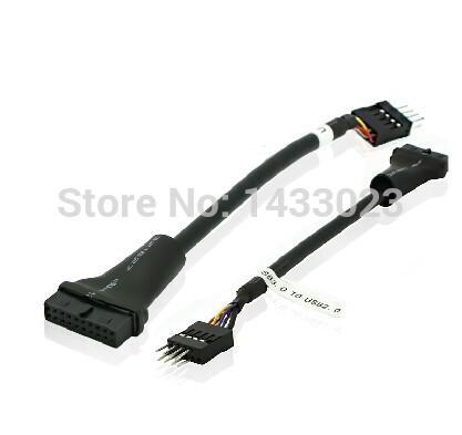USB 2.0 9Pin başlık erkek Bilgisayar Anakart USB 3.0 20pin Konut Kadın uzatma kablosu