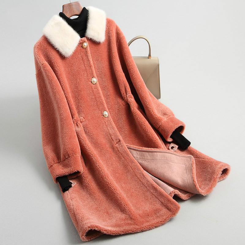 Real Fur Coat Women Clothes 2019 Long Autumn Winter Jacket Fashion Collar Korean 100% Wool Fur Coats KQN18195 KJ3419