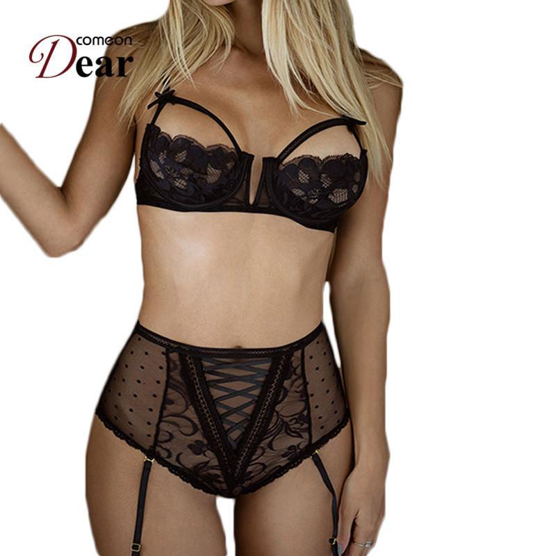 Comeondear Sujetador Sexy Soutien-gorge en dentelle ouverte avec soutien-gorge + culotte taille haute avec jarretière + jarretière femme sexy ensemble lingerie érotique RA80646 Y190601