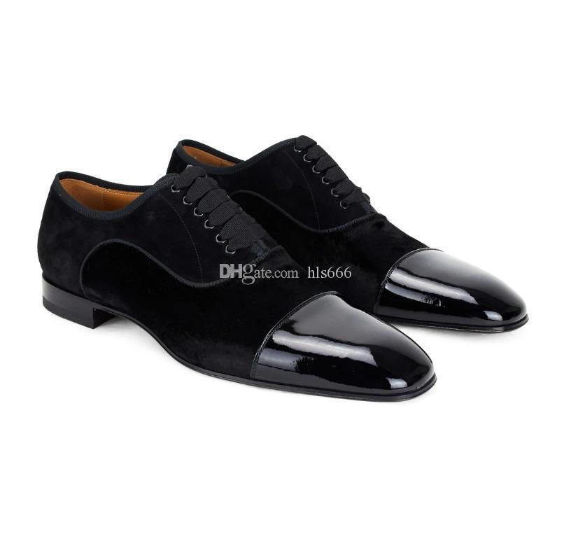 Оптовая Дешевые высокого качества Gentleman Свадебная обувь с красной подошвой Оксфорд платье Alpha Male Flat Greggo Red Bottom тапки Trainer