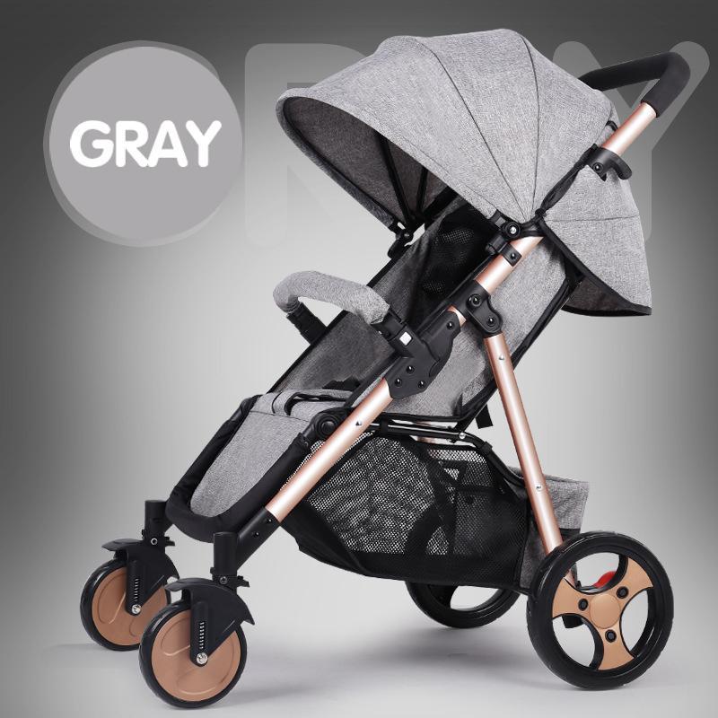 6Kg Lightweight Stroller Baby Pushchair Foldable Portable Four-wheel High Landscape Baby Stroller Hot Mom Pink Stroller Trolley